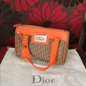 Dior Orange/Beige Diorissimo Small Boston Bag